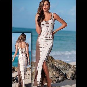 Venus Tie Dye Drop Waist Maxi Dress Open Back